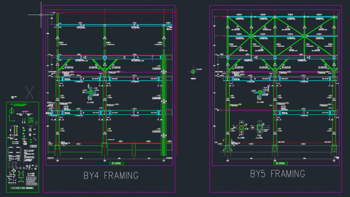Podium Steel Framing Details DWG Drawing