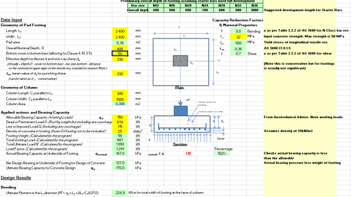 Reinforced Rectangular Concentric Concrete Footing Design Spreadsheet