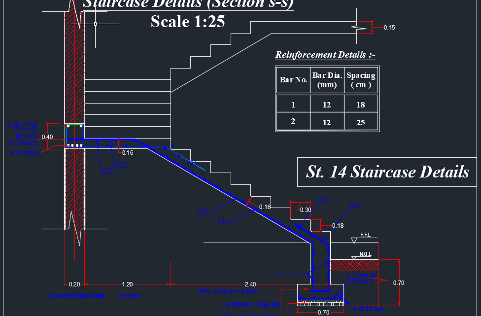 Staircase Details Autocad DWG File