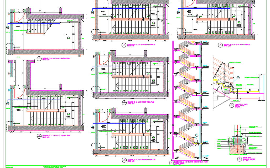 Staircase Plans sections and details Autocad Drawing
