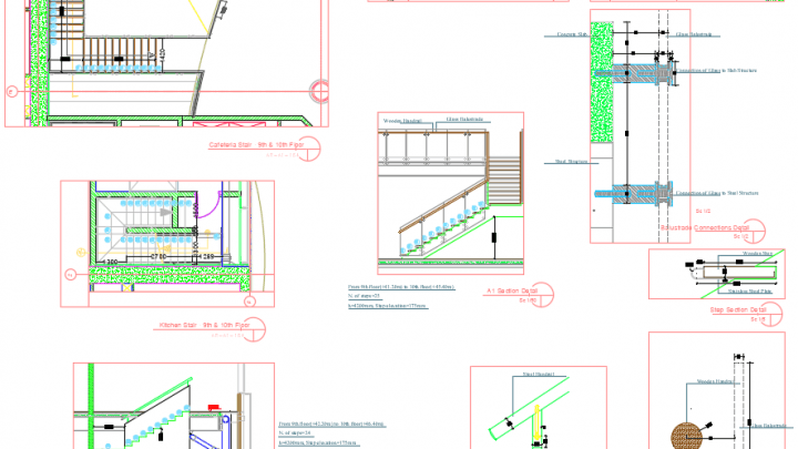 Stairs and Balustrades details Autocad DWG File