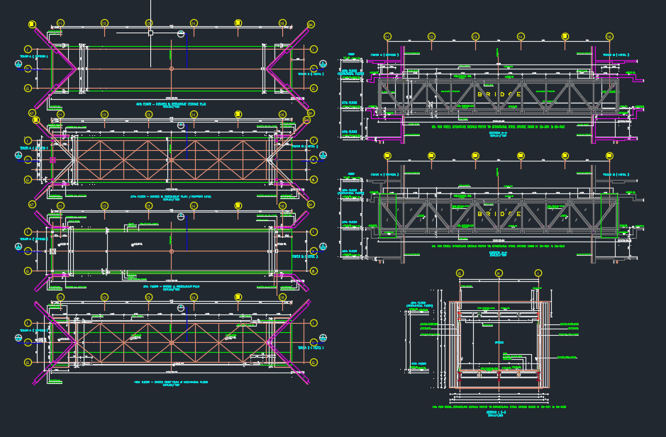 Steel Bridge Layout and Cross Section Autocad Drawing
