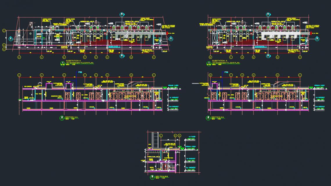 Substation Basement Floor Details Autocad Drawing