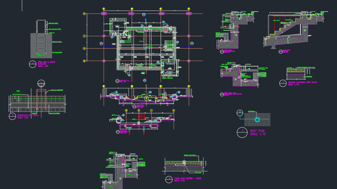 Swimming Pool Structural Details Autocad Drawing