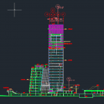 Tower Structure Elevation Details Autocad Drawing