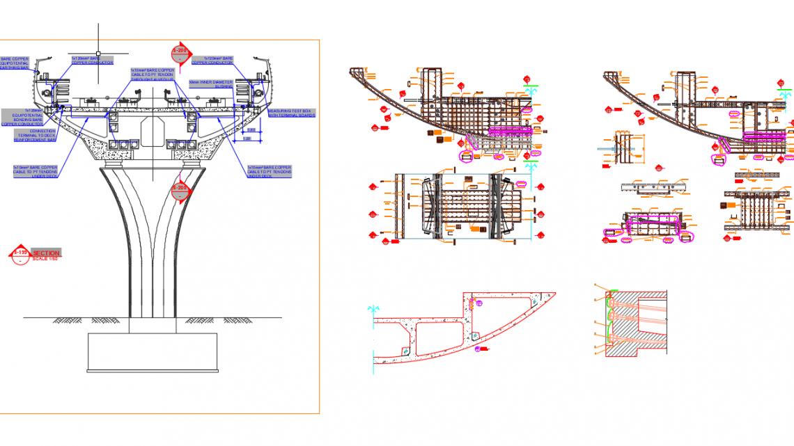 Viaduc Deck Postension Details Autocad DWG File