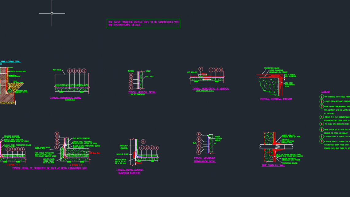 Water-Proofing Typical Details Autocad Dwg File