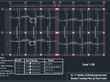 Details of Reinforcement and Beams Framing Plan Autocad Drawing
