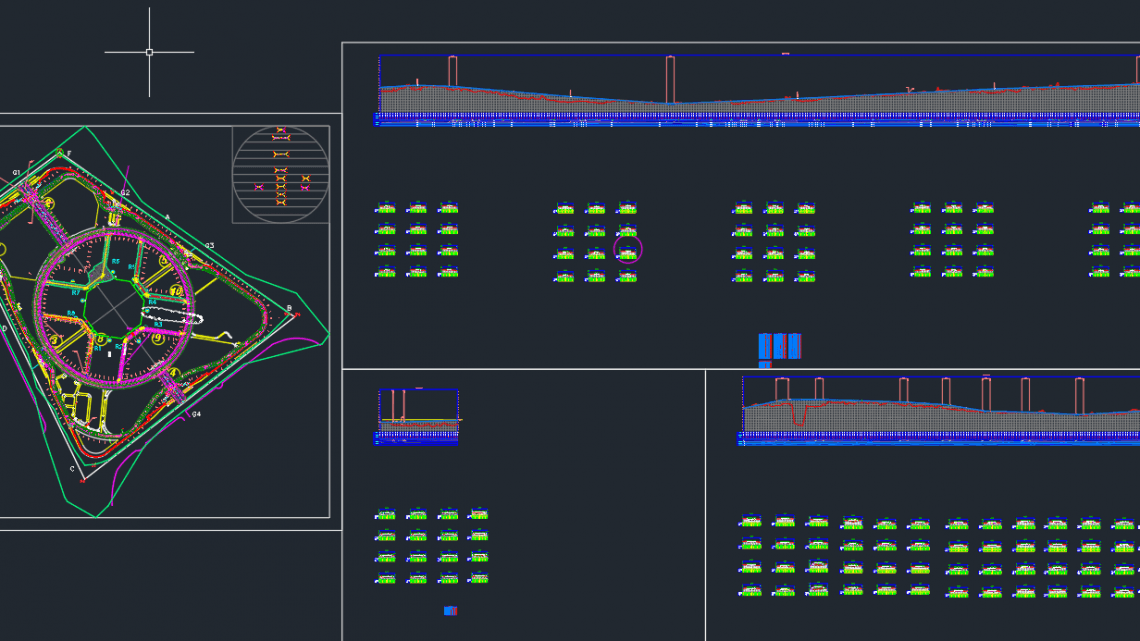 City Road Plan, elevation profil and cross section Autocad Drawing