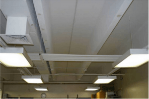 Double-T floor element with suspended ceiling removed