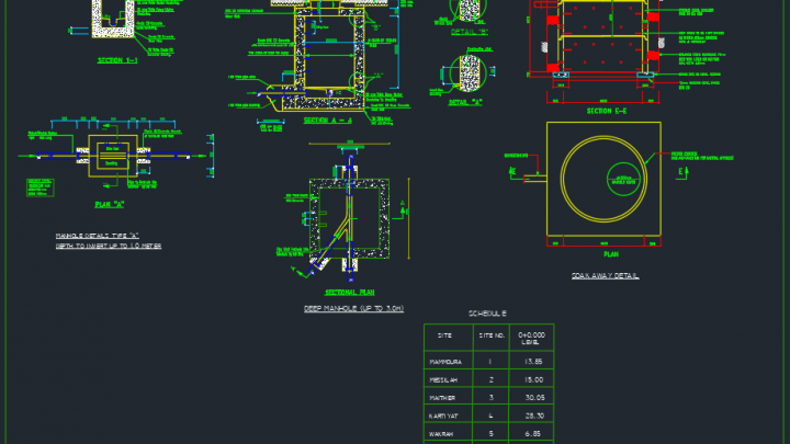 Drainage Manhole Detail – Autocad Drawing