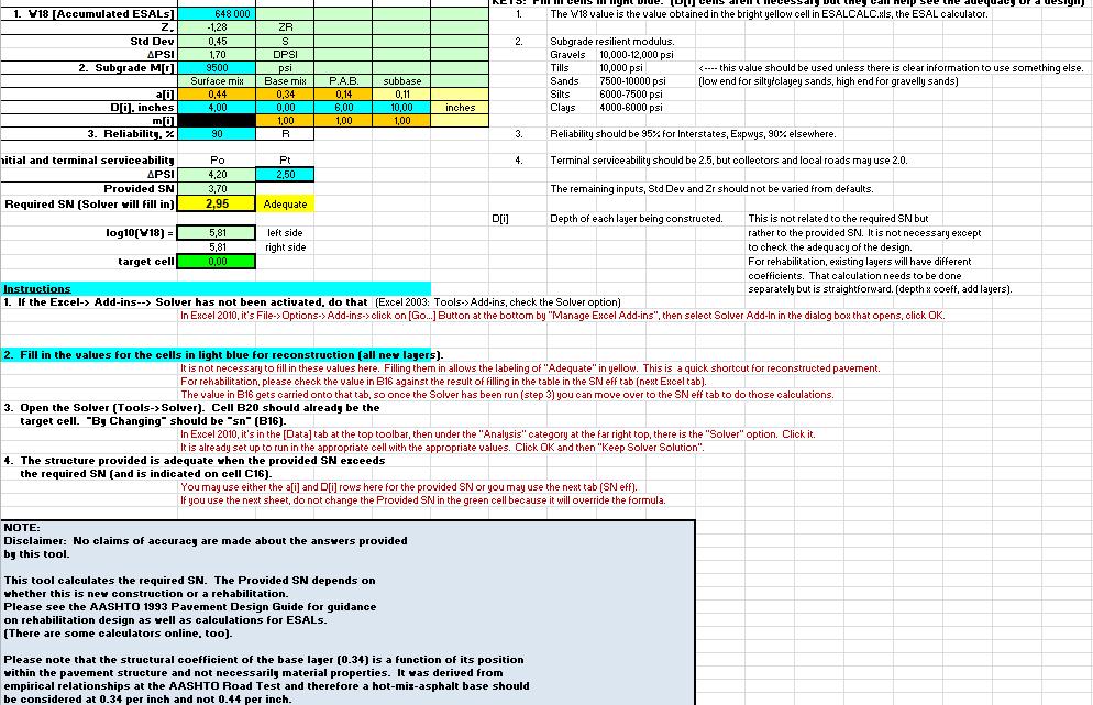 Flexible Pavement Design Excel Sheet