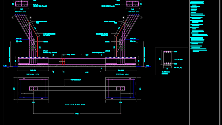 Foundation, Tie Beam and Strap Beam Details – Autocad Drawing