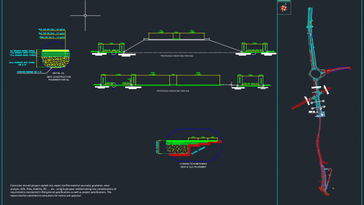 Road Cross Section and Pavement Details – Autocad Drawing