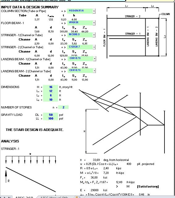 Steel Stair Design Based on AISC 360-10 Spreadsheet