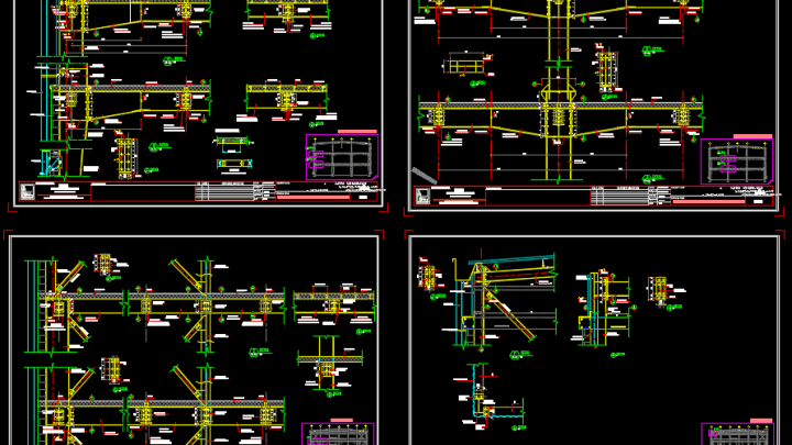 Typical Details for Steel Frame Autocad Drawing