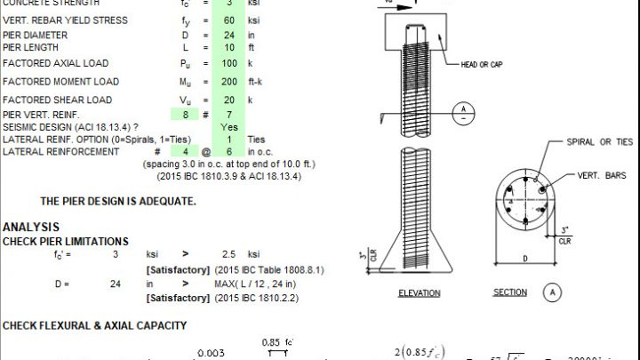 Concrete Pier (Isolated Deep Foundation) Design Spreadsheet Based on ACI 318-14