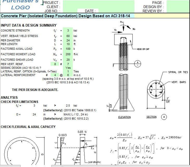 Concrete Pier (Isolated Deep Foundation) Design Spreadsheet Based on ACI 318-14