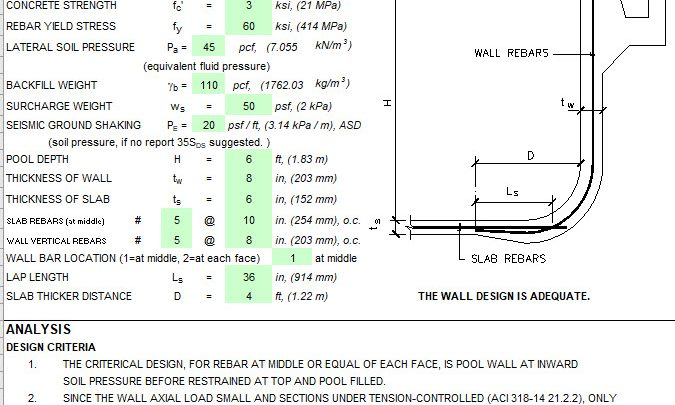 Concrete Pool Design Spreadsheet Based on ACI 318-14