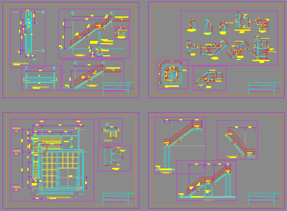 Metal Stair Details Autocad Drawing