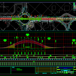 Plan and Longitudinal Profile for Bridge Autocad Free drawing