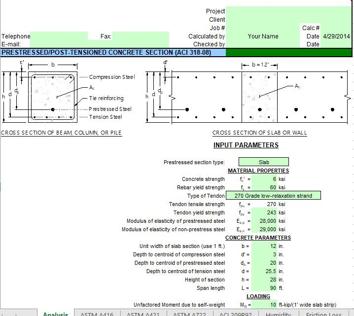 Prestressed Post-Tensioned Concrete Section Spreadsheet