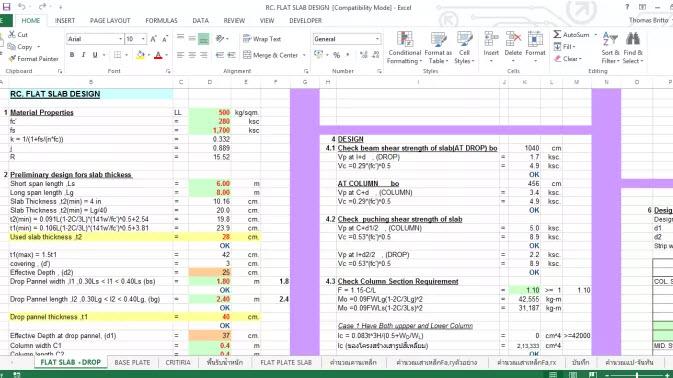 Reinforced Flat Slab Design Spreadsheet