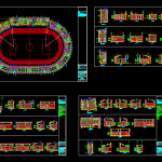Stadium Project Layout and Elevation Plan Details Autocad Drawing