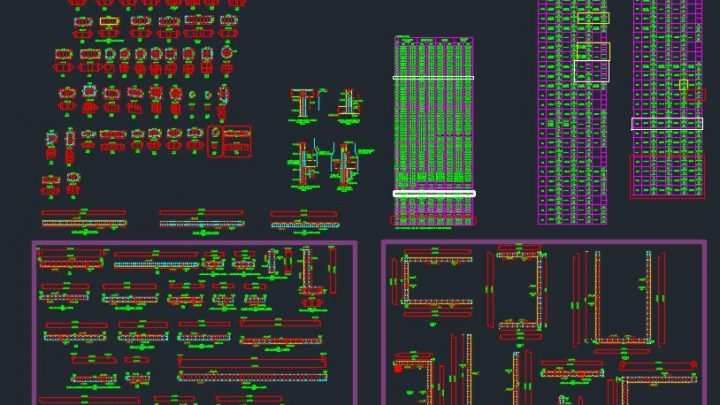 Columns and Shear Walls Details Autocad Free Drawing