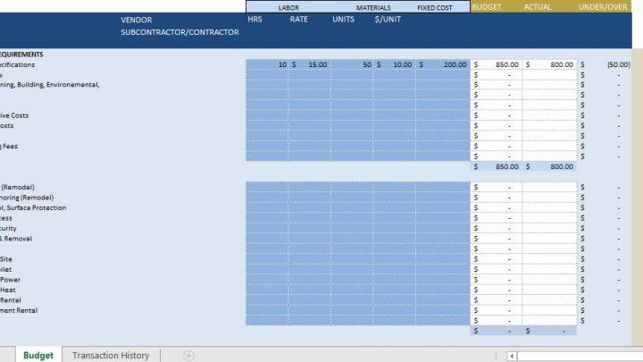 Construction Budget Template Spreadsheet