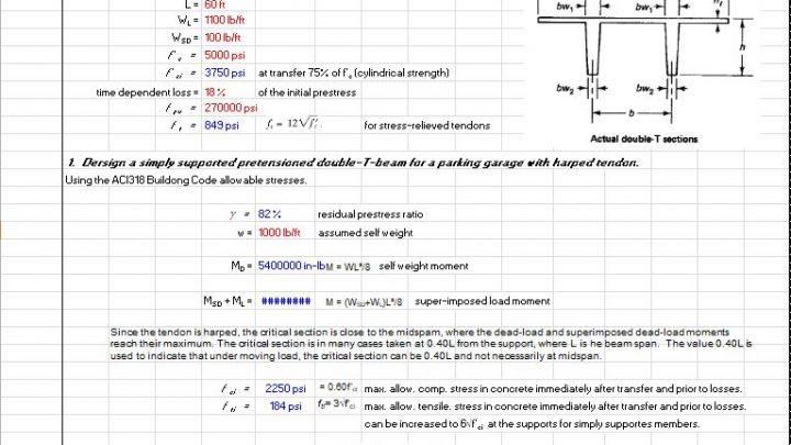 Design of Prestressed Double Tee Beams Spreadsheet