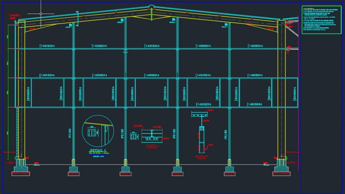 End Gable of Steel Frame Details Autocad Free Drawing