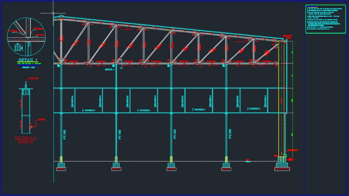 End Gable of Steel Struss Details Autocad Free Drawing