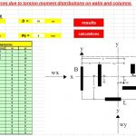 Forces due to torsion moment distributions on walls and columns Spreadsheet