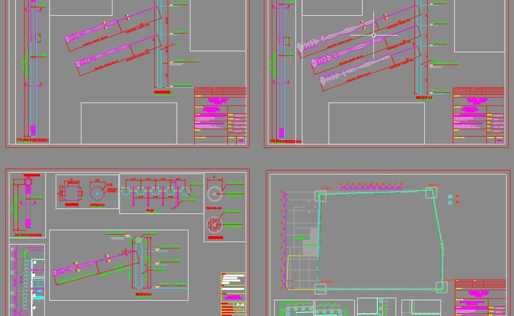 Soldier Piles and Anchorage Detail Autocad Free Drawing