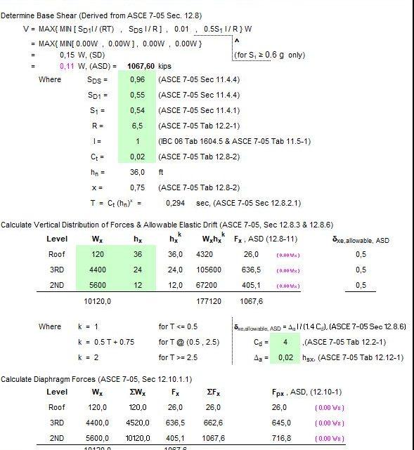 Three Story Seismic Analysis Spreadsheet