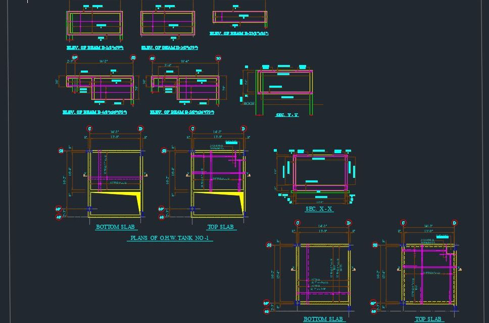 Top and Bottom Tank Slab details Autocad Free Drawing