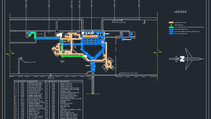 Airport Sewage Lines Autocad Free Drawing