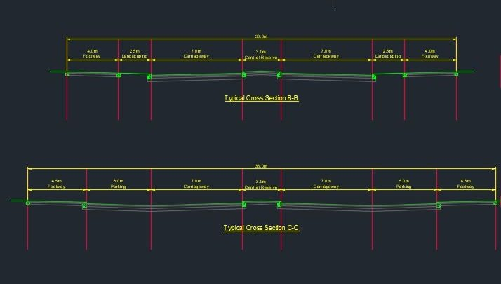 Highway Typical Cross Sections Autocad Free Drawing