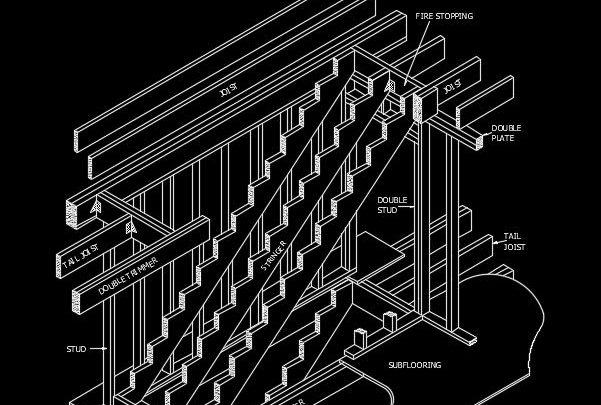 Interior Wood Stairway Framing Autocad Drawing