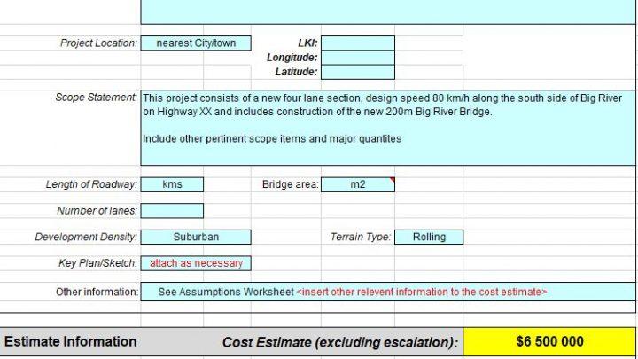 Sample Project Cost Estimate Spreadsheet