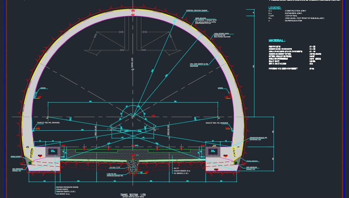 Tunnel Typical Section Autocad Free Drawing