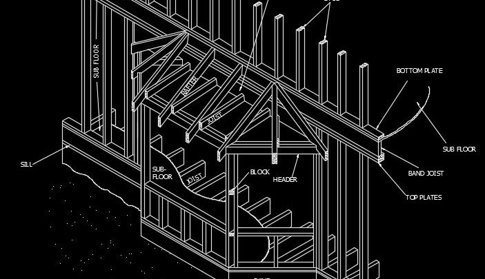 Wood Framing Of Bay Window Autocad Drawing