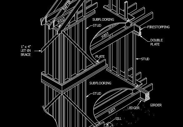 Wood Platform Frame Construction Autocad Drawing