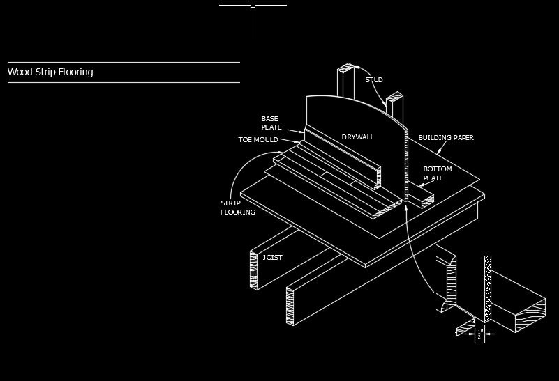 Wood Strip Flooring Autocad Drawing Detail