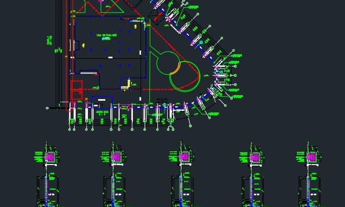 Boundry Fence Reinforcement Details Autocad Drawing