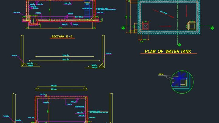 Fire Fighting Water Tank Autocad Drawing