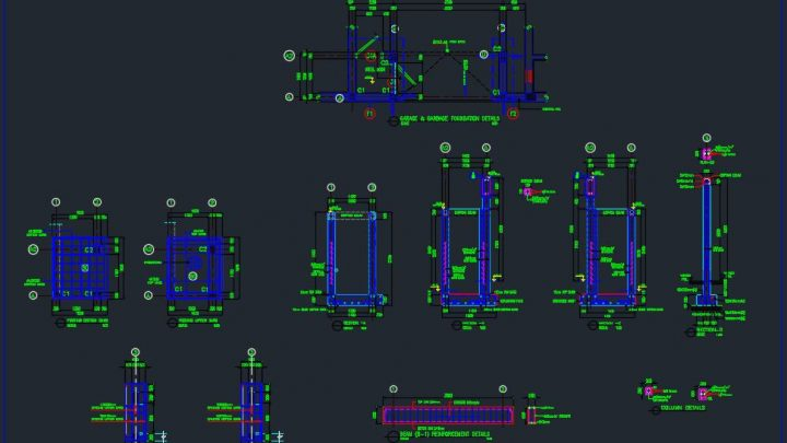 Garage and Garbage Reinforcement Structure Details Autocad Drawing