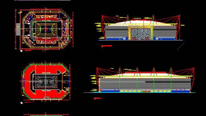 Gymnastic Stadium Plan Autocad Drawing