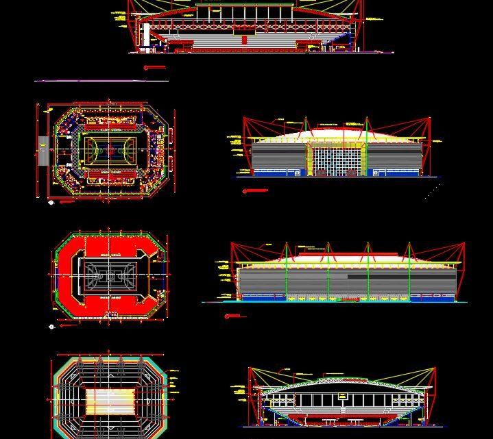 Gymnastic Stadium Plan Autocad Drawing